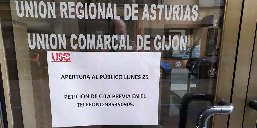 Las sedes de USO-Asturias, abiertas al público con cita previa y restricción de aforo