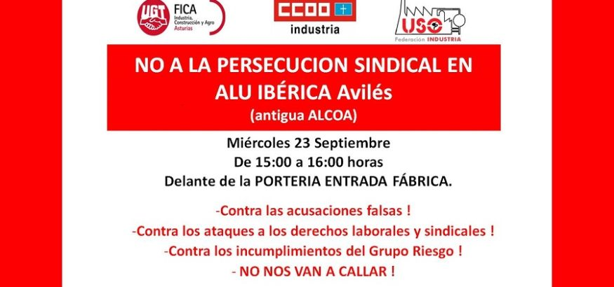 USO llama a concentrarse frente a Alu Ibérica Avilés contra la persecución sindical del Grupo Riesgo