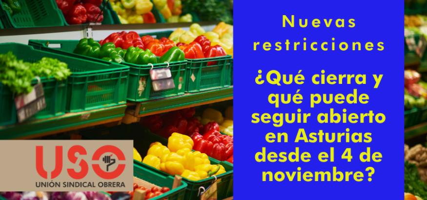 USO-Asturias respalda los cierres y restricciones, pero urge las ayudas a los afectados