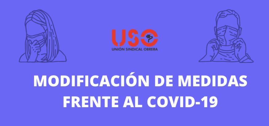 Modificación de las medidas frente al covid-19 en Asturias. Sindicato USO-Asturias
